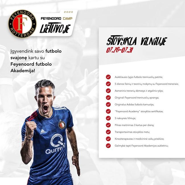 Feyenoord futbolo akademija kviečia registruotis į stovyklą
