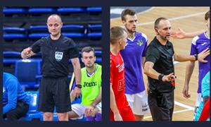 FIFA kategorijos futsal teisėjai Š. Tamulynas ir M. Pomeckis teisėjaus Čempionų lygos atrankos rungtynėse