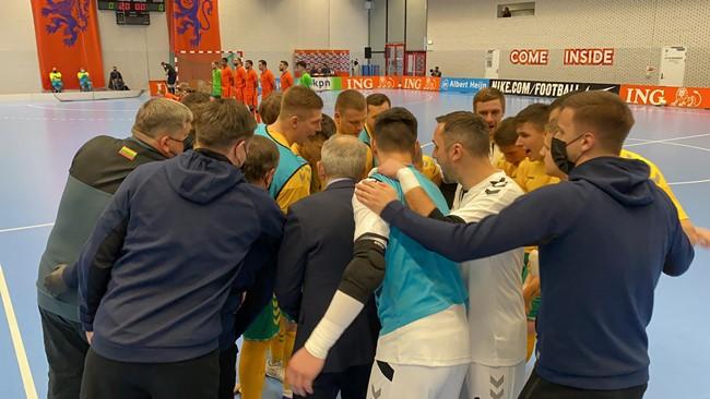 Lietuvos salės futbolo rinktinė kontolinėse rungtynėse neprilygo Nyderlandams