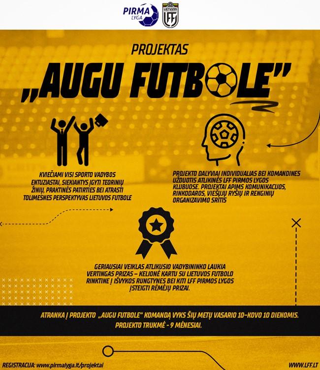 """Nauja iniciatyva: startuoja edukacinis futbolo projektas """"Augu futbole"""""""